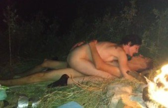 Fucked in the mouth in nature near the fire. Deep Throat