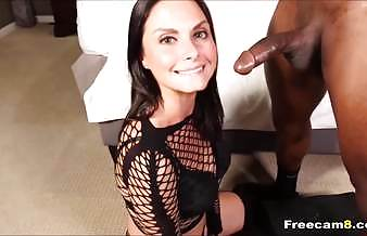 Brunette Fits Two Large Cocks in Her Mouth
