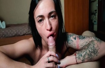 Inked Babe Plays With Cock