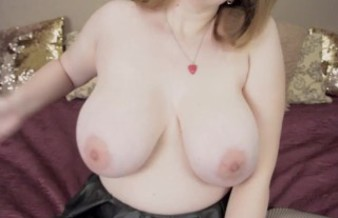 busty girl touches her tits, shakes, bounce, slap them