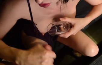 Kinky wife loves me to cum in her champagne glass and drink . KinkyMylf